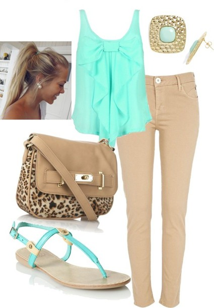 blouse hair shirt earrings ring bag pants shoes tank top jeans cute outfits top mint blue blouse mint turquoise