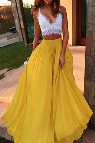 skirt yellow maxi casual beach long skirt feminine fashion style flowy