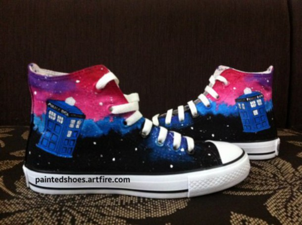 shoes tardis galaxy shoes geekery doctor who shoes tardis shoes doctor who converse painted shoes pink converse
