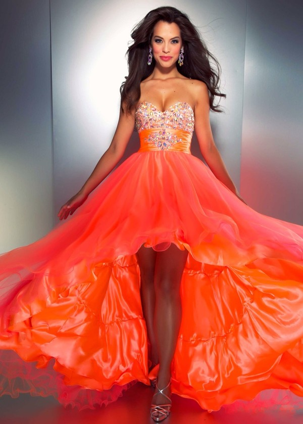 dress bright orange high-low dresses high low orange dress bright strapless dress stones bag orange prom gown earrings jewelry fiery orange colorful colorful