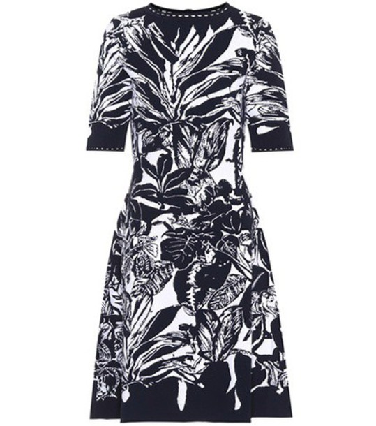 oscar de la renta dress printed dress black