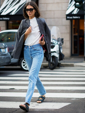 jacket tumblr blazer grey blazer t-shirt white t-shirt denim jeans blue jeans shoes birkenstocks sunglasses streetstyle