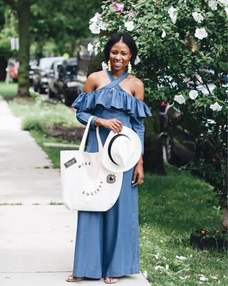 jumpsuit white top tumblr off the shoulder denim denim jumpsuit hat felt hat bag tote bag ruffle