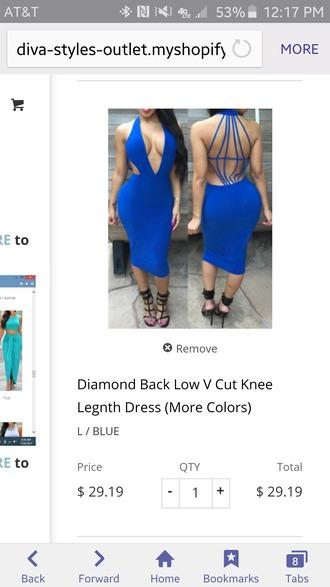 dress diamondback blue dress v cut neck dress