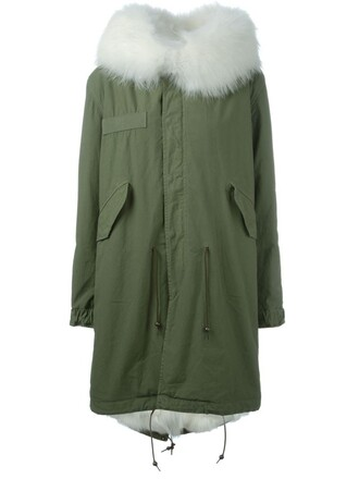parka fur fox women cotton green coat
