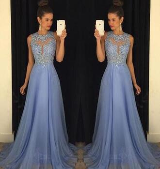 dress blue flowers lavender prom