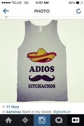 shirt,grey t-shirt,mexico,adios,funny,tank top,muscle tee,moustache,cotton