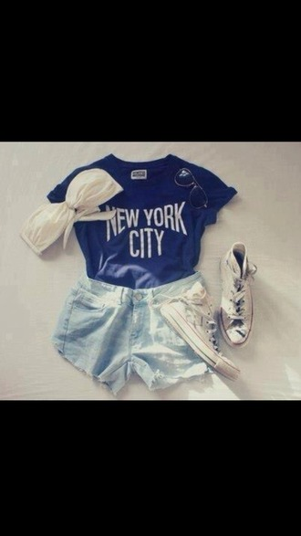 t-shirt blue t-shirt black glasses white bra shorts