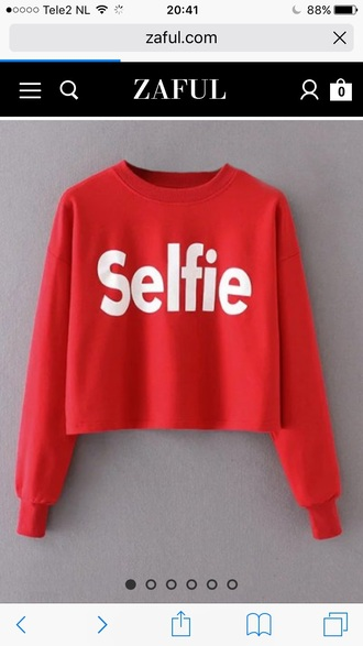 sweater red fashion quote on it style trendy cool crop tops winter outfits winter sweater selfie zaful