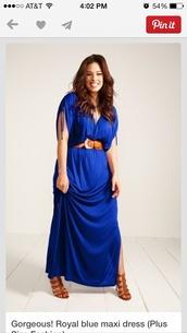 dress,blue,plus size,belt,brown