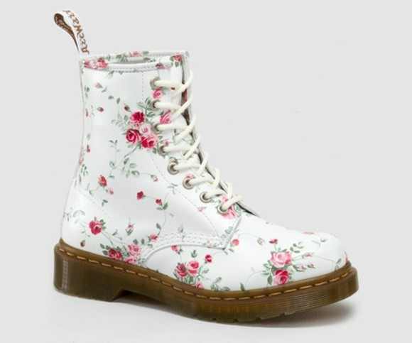 flowers shoes liberty white DrMartens