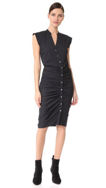 Veronica Beard Long Ruched Dress in black