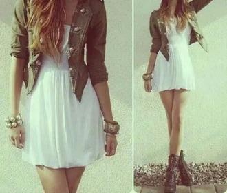 jacket khaki white dress white dress outfit