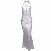 dress,silver,silver dress,maxi dress,silver prom dress,long dress,long prom dress,v neck dress,sequin dress,sequins,silver sequin dress,open back dresses