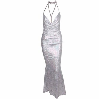 dress silver silver dress maxi dress silver prom dress long dress long prom dress v neck dress sequin dress sequins silver sequin dress open back dresses