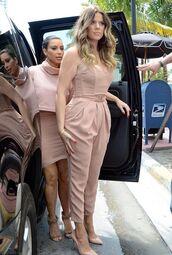 jumpsuit,khloe kardashian,pleated,nude,kim kardashian