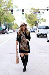 januaryhart,blogger,dress,scarf,bag,hat,jewels,shoes,felt hat,winter outfits,handbag,boots,knee high boots