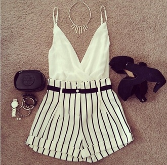 blouse gorgeous shorts wrap top cami top mod black and white stripes v neck black buttons high waisted shorts t-shirt shoes