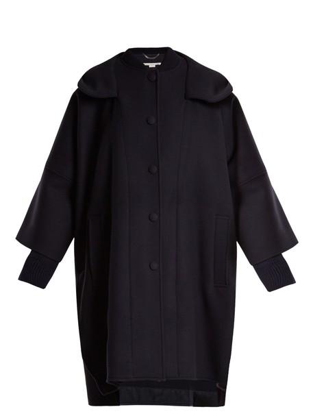 Stella McCartney coat wool coat oversized wool navy