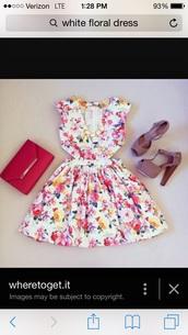 dress,white floral dress,vibrant color,cut-out dress,mid length dress,a line dress,graduation dress