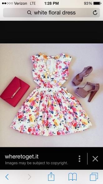 dress white floral dress vibrant color cut-out dress mid length dress a-line dresses graduation dress