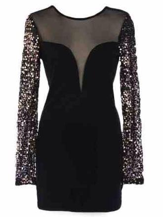 dress sequin dress long sleeve dress black sexy lbd sequins little black dress mesh