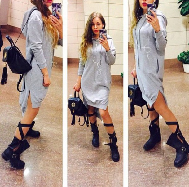 ef47d74df48 dress zefinka sportswear tunic dress grey grey urban smart casual irregular dress  Hooded dress bag hoodie