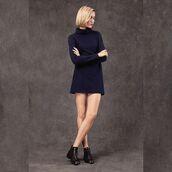 dress,long sleeve dress,mini dress,navy,reformation,minimalist,saul,turtleneck,turtleneck dress,long sleeves,made in los angeles,winter dress,blue winter dress