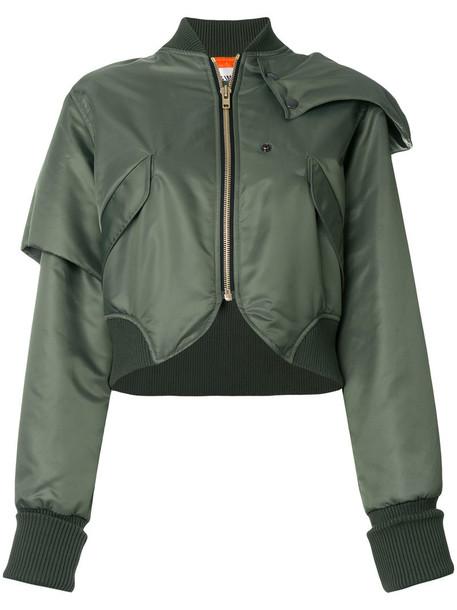 Vejas - deconstructed cropped bomber jacket - women - Nylon/Cupro - L, Green, Nylon/Cupro