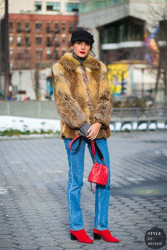 jacket tumblr fur jacket faux fur jacket denim jeans blue jeans boots red boots bag red bag fisherman cap