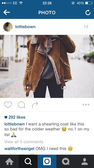 coat brown shearling coat shearling jacket