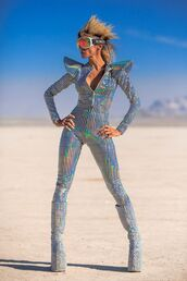 jumpsuit,silver jumpsuit,boots,silver boots,costume,sunglasses,burning man,burning man clothing,burning man costume,festival,music festival