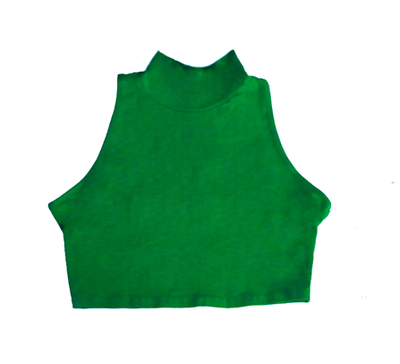B2 – GREEN – SLEEVELESS MOCK TURTLENECK – CROP TOP