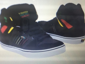 shoes rasta vans style red green black yellow