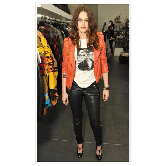 jacket kristen stewart orange shoes pants