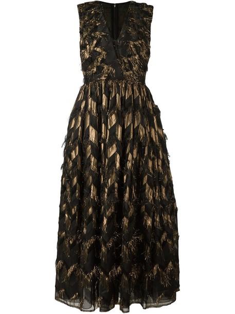 Dolce & Gabbana dress metallic women black silk chevron