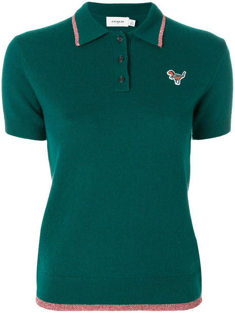 coach shirt polo shirt women wool green top