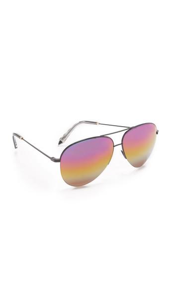 Victoria Beckham Classic Victoria Aviator Rainbow Sunglasses - Black/Rainbow