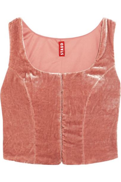 top velvet top cropped baby velvet pink baby pink