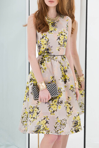 dress yellow fashion style trendy floral summer spring girly dezzal