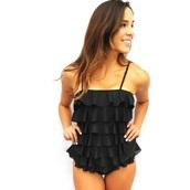 swimwear,black ruffle tankini