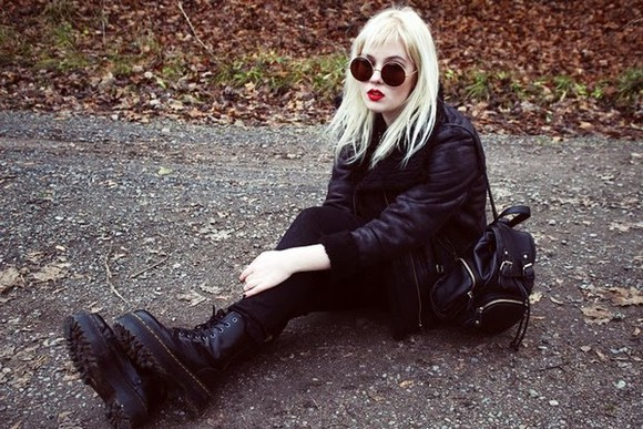 blouse round sunglasses grunge blogger jacket jeans thelma malna leather backpack DrMartens