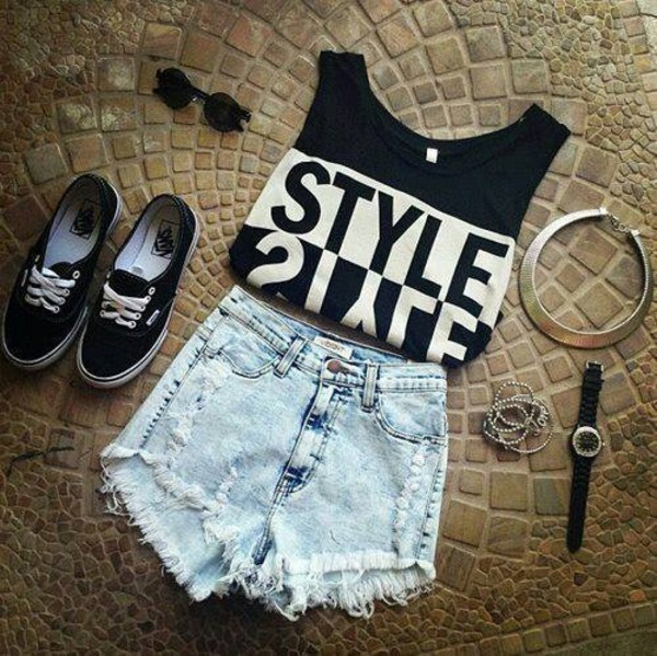 shirt black and white top debardeur shorts denim shorts High waisted shorts ripped shorts shoes