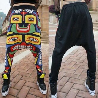 pants harem harajuku harem pants colourful pants streetstyle korean fashion