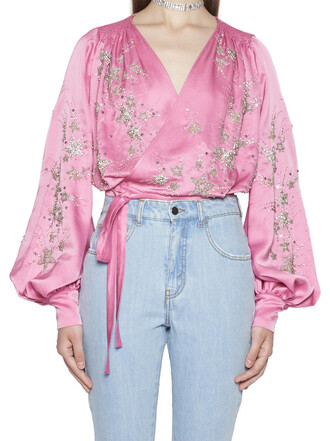 blouse pink top