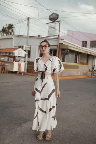 skirt maxi skirt white skirt top sunglasses crop tops matching set