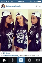 black,shirt,quote on it,chinese,sayings,india westbrooks,t-shirt,jersey,top