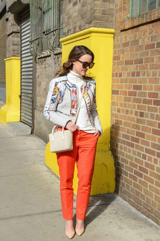 live more beautifully blogger sunglasses red orange pants chino ethnic jacket white sweater mini bag nude heels