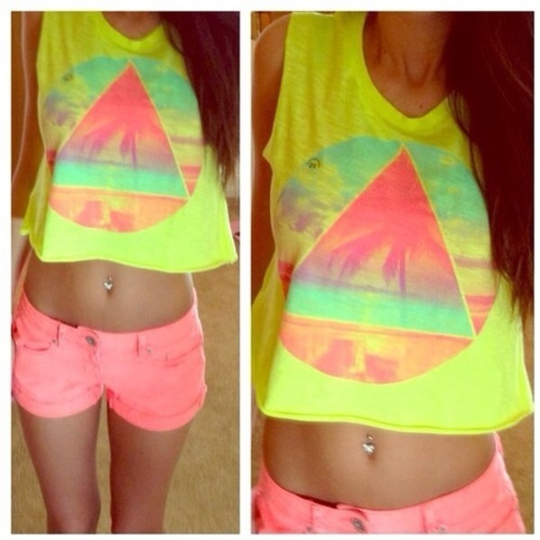 tank top bright belly top cool yellow pink short shorts shirt yellow top triangle circle crop tops neon crop tops cute illuminati summer spring t-shirt blue tank top bright crop tops bright tanned girl tanned girls pretty belly piercing short top top pink shorts short shorts brightly coloured neon yellow gloves hawiian print