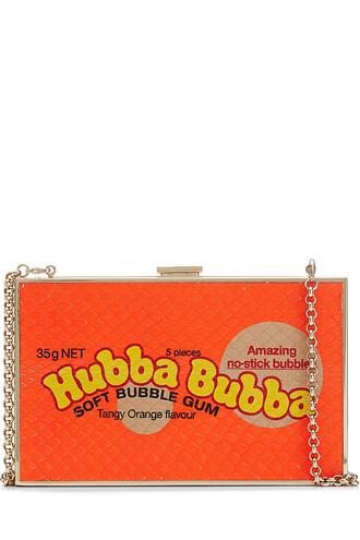 python clutch orange bag